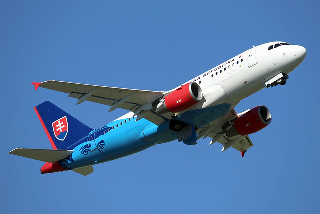 Slovak Government Flight Service A319CJ OM-BYA departing WAW/EPWA