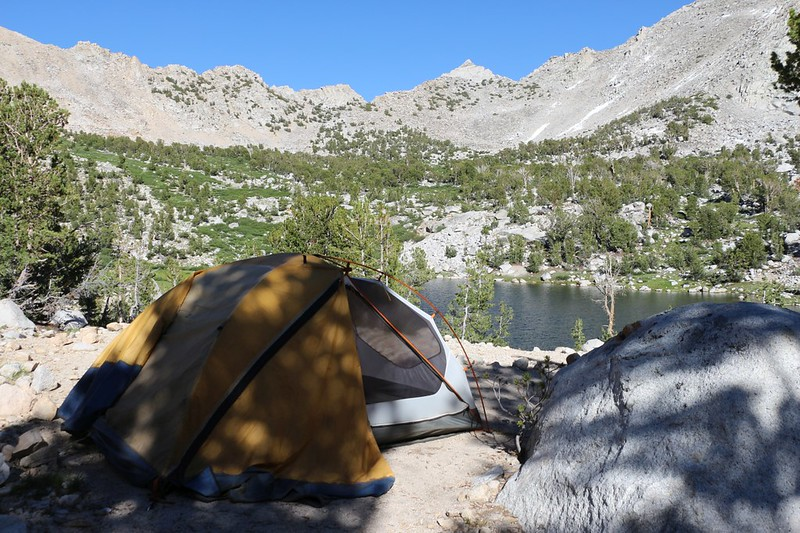 Our campsite at the Kearsarge Lakes, with Kearsarge Pass in the upper left corner - but that's for tomorrow