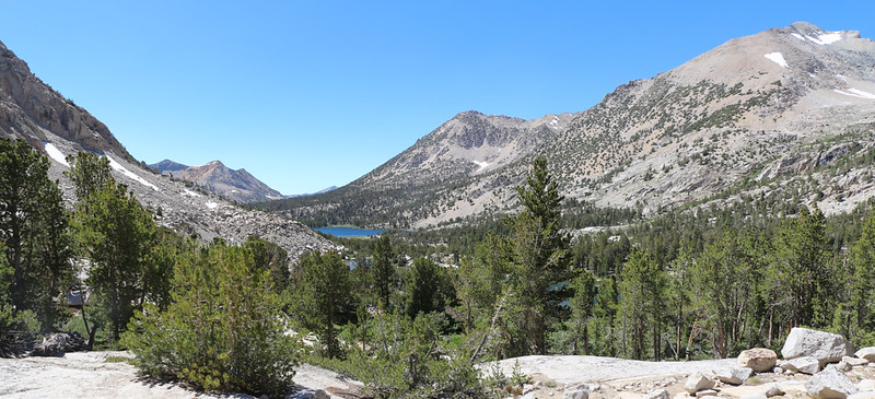 View west down the Kearsarge Basin with Bullfrog Lake in the distance and Mount Rixford on the far right