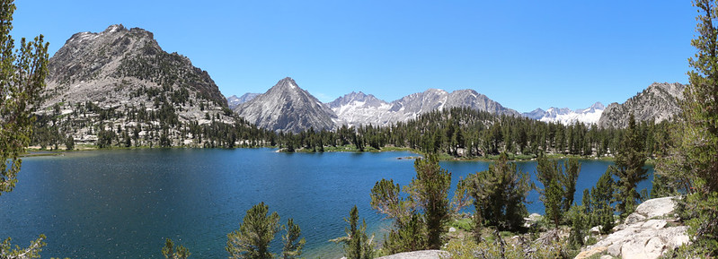 Panorama of Bullfrog Lake looking southwest, with East Vidette, Deerhorn Mtn, and West Vidette