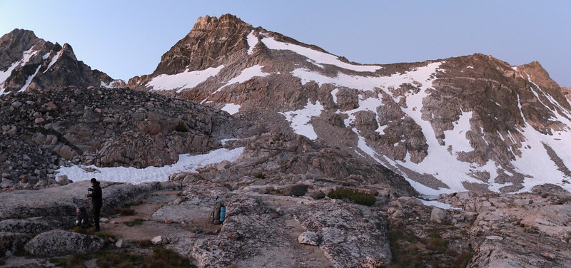 We finished packing up before 5am and started hiking up and over Glen Pass (right of center