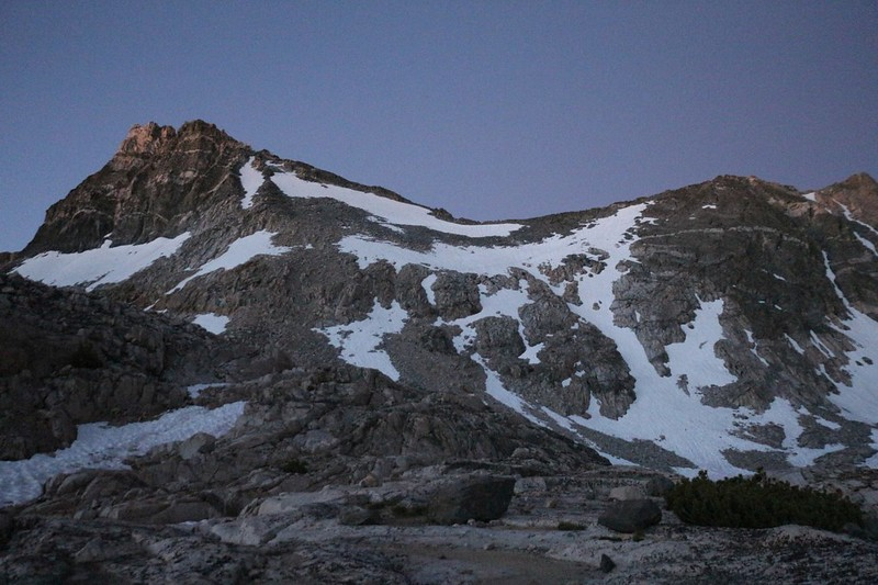 Pre-dawn alpenglow on Glen Pass with Glacier Spike (colloquial name) on the left