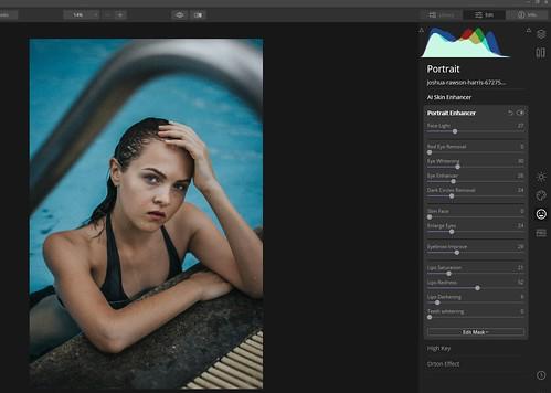 Screenshot of sliders for Luminar 4's Portrait Enhancer filter