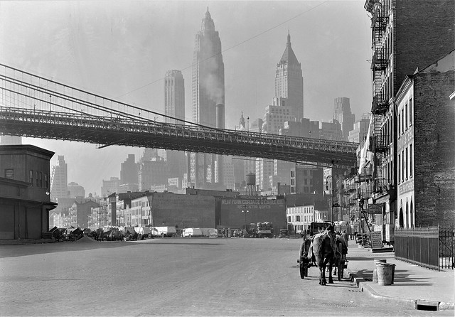 City on the Make: Looking down South Street in New York City. November 1933.