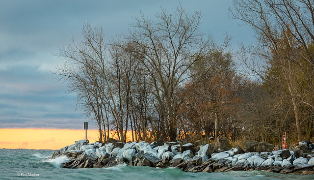 Ice capped rocks of Ashbridges Bay off Lake Ontario - Toronto