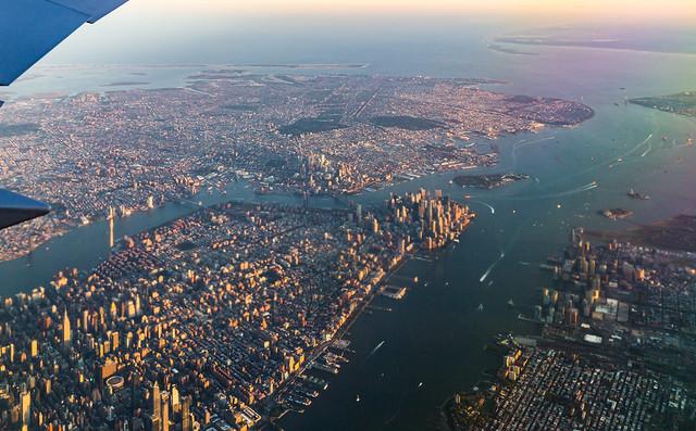 Manhattan through a Boeing window