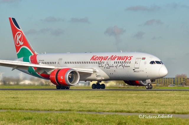 KQ116 Kenya Airways Boeing 787-8 Dreamliner (5Y-KZA) arriving from Nairobi at Schiphol Amsterdam