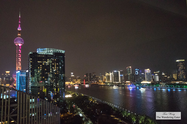 Night view from my room at the Mandarin Oriental Pudong