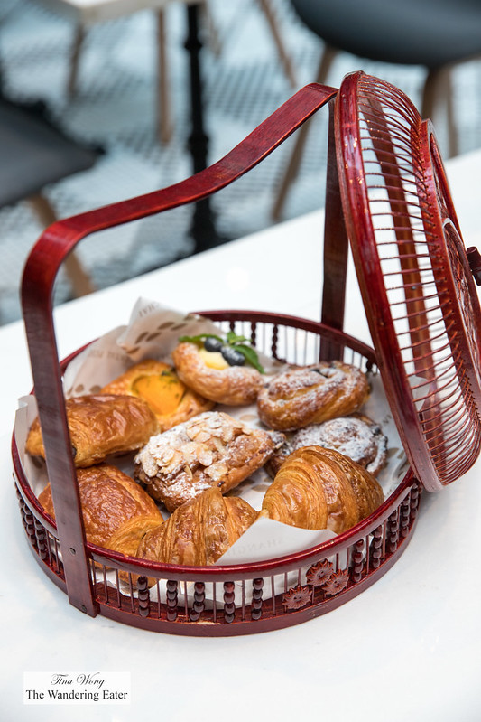 Assortment of croissants and danishes at Cafe Zest for breakfast