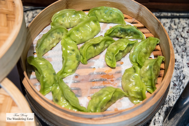Steamed vegetable dumplings at the Mandarin Oriental Club lounge
