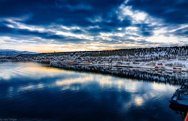 Sunrise view of harbor of Alta, Norway-1a