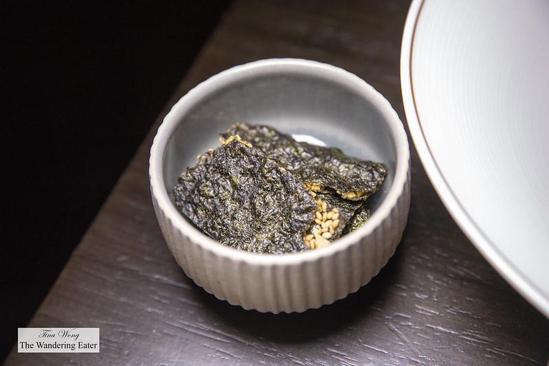 Nori (seaweed) chips served with the Jumbo Crab Tartar, Caviar