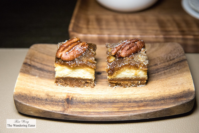 Mignardes of mini pecan cheesecake bars