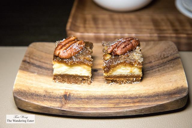 Mignardes of mini pecan cheesecake bars