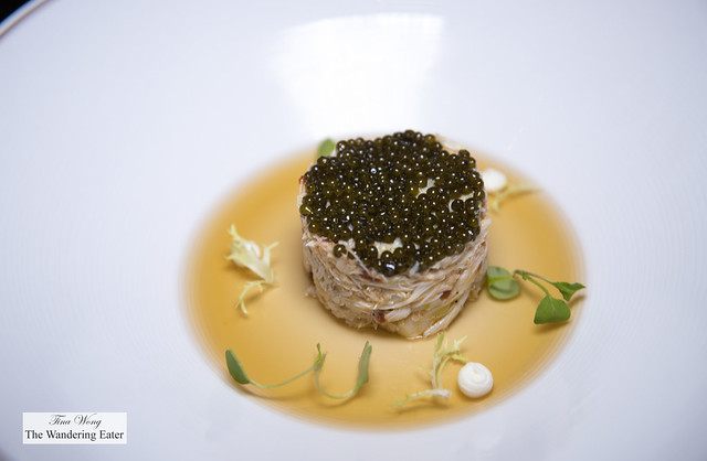 Jumbo Crab Tartar, Caviar, almond, dashi jelly served with nori chips on the side