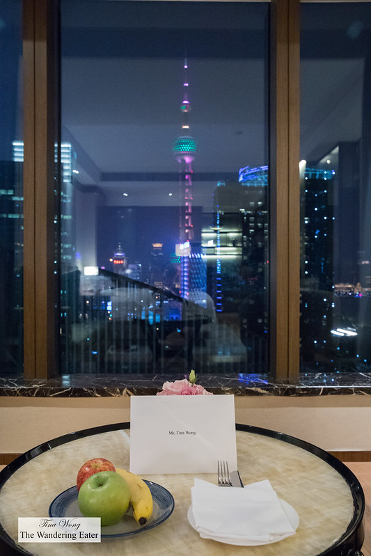 My welcome note and Spectacular room of the Oriental Pearl Tower at night