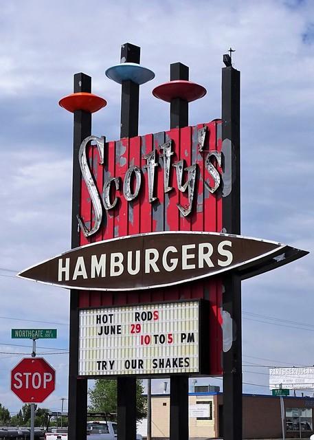 ID, Idaho Falls-U.S. 26 Scotty's Drive In Neon Sign