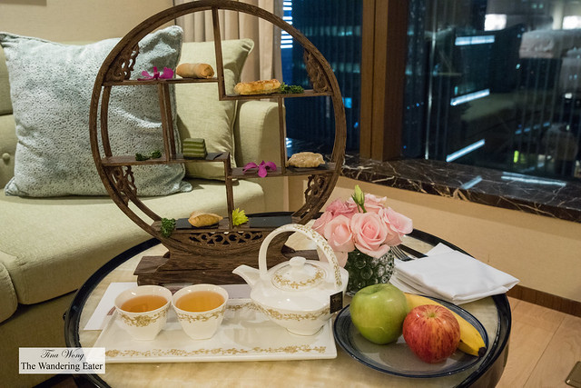 Welcoming dim sum and tea at my room