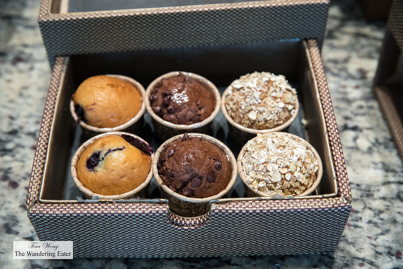 Miniature muffins at the Mandarin Oriental Club lounge