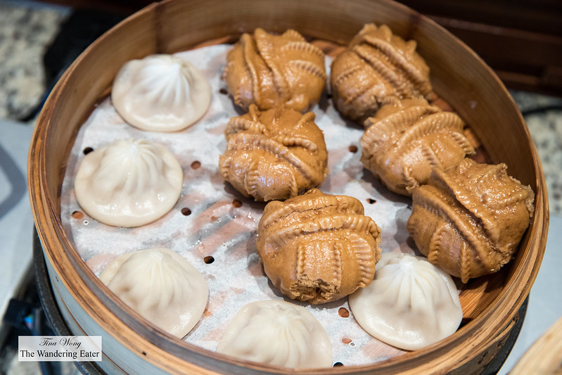 Soup dumplings and walnut buns at the Mandarin Oriental Club lounge