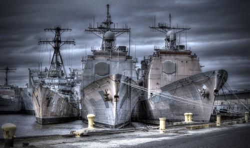 Grey Ships on a grey day