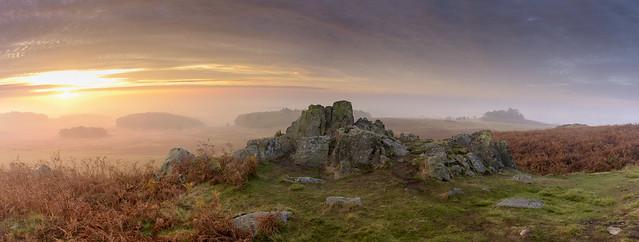Dawn Mist at Bradgate Panorama