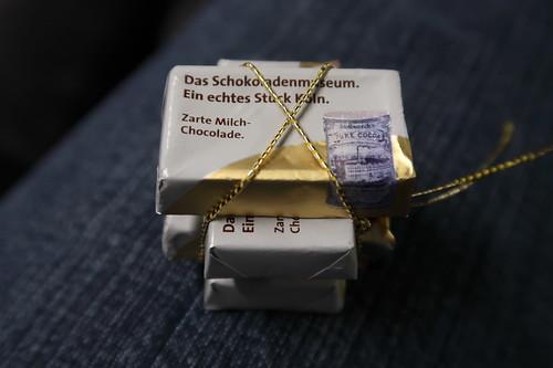 Milchschokoladentäfelchen, die zum Abschied im Schokoladenmuseum ausgegeben wurden