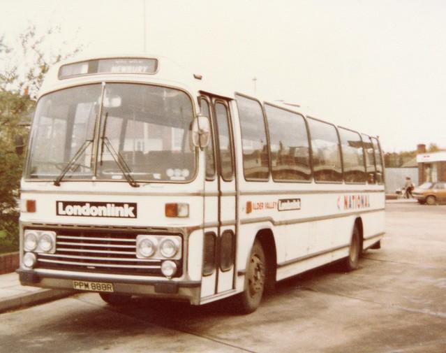 ALDER VALLEY .  Leyland Leopard 81  PPM888R .  Newbury Bus Station