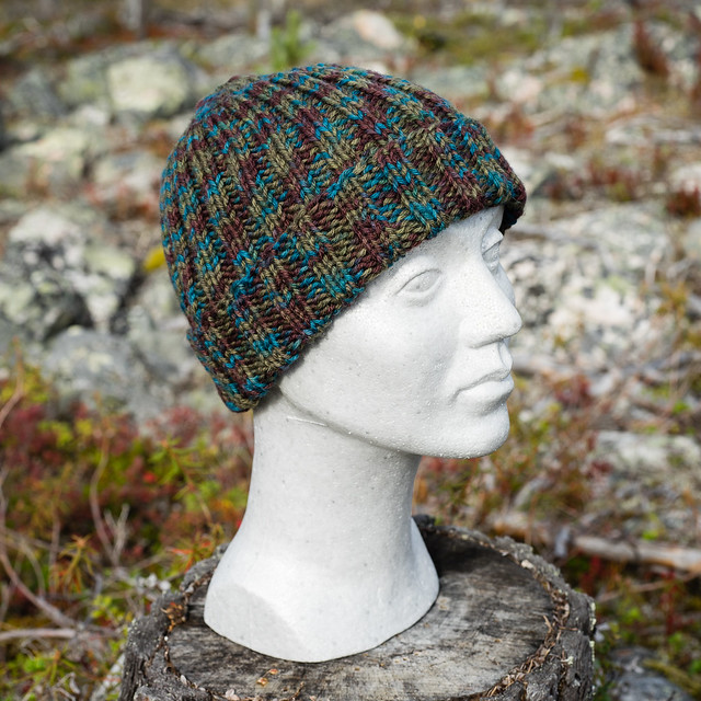 A rib hat in bulky yarn