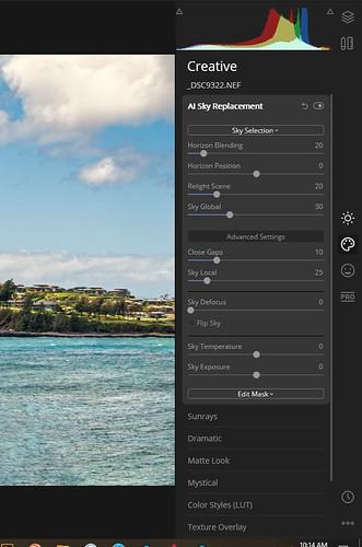 Screenshot of Luminar 4's AI Sky Replacement filters