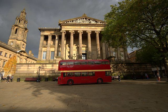 Vintage bus in front of the Harris Museum in Preston