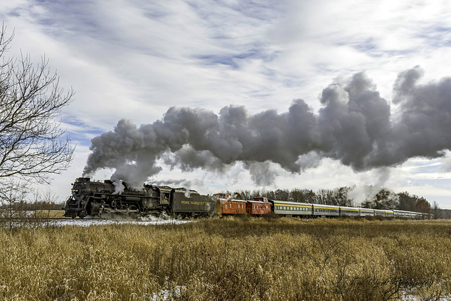 Pere Marquette 1225 steams its way toward Ashley, Michigan on the annual North Pole Express events