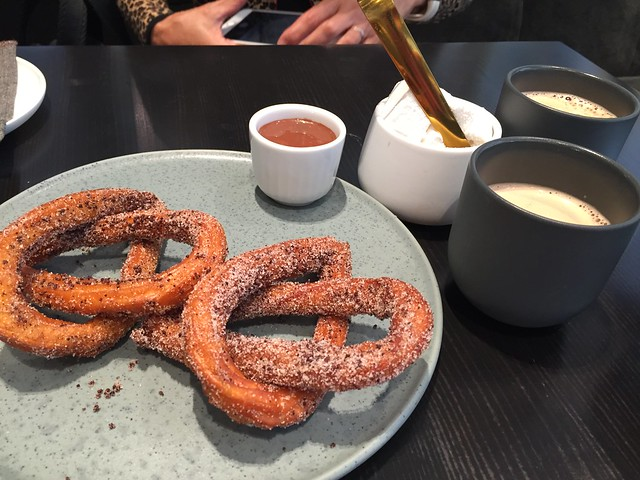 Churros with Dipping Sauce & Hojicha Hot Chocolate