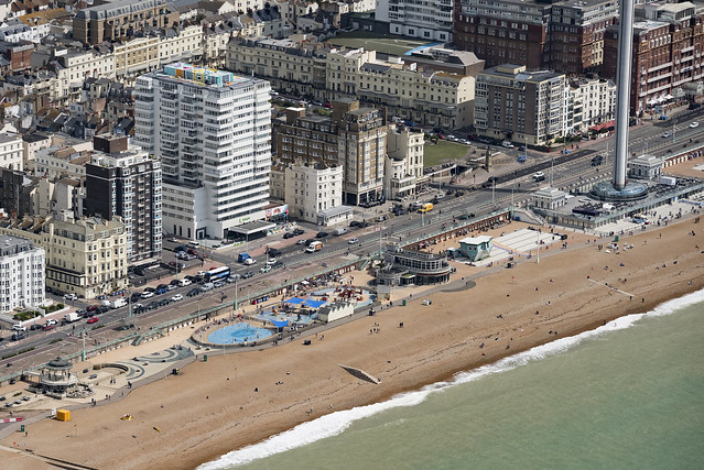 Bright seafront aerial image