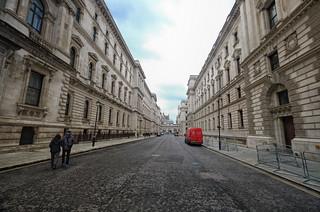 Between the buildings in London, England