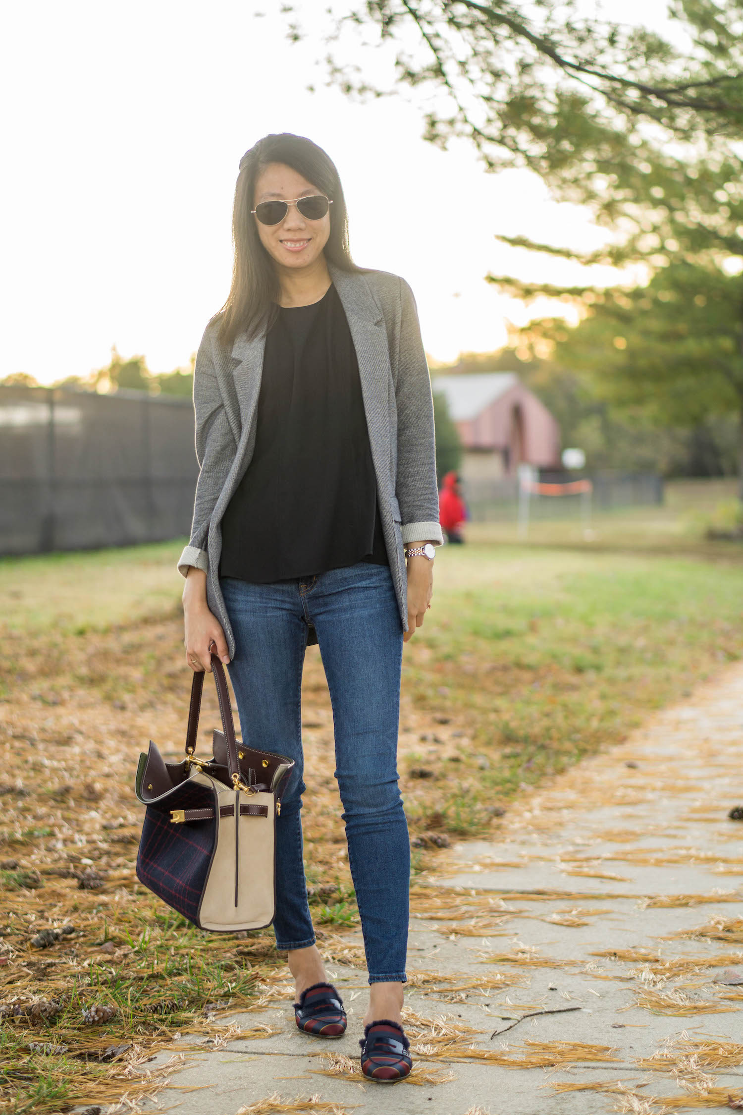"Topshop gray boyfriend blazer, Ann Taylor black peplum shell, J.Crew 8"" toothpick jean in Vista wash, Tory Burch Lee Radziwill double bag in checked splittable wool, J.Crew faux fur-lined Academy penny loafers mule in silk tie print"