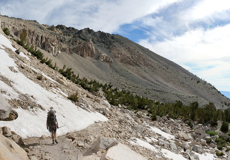 Another melting snowbank along the Kearsarge Pass Trail, with Kearsarge Peak, above