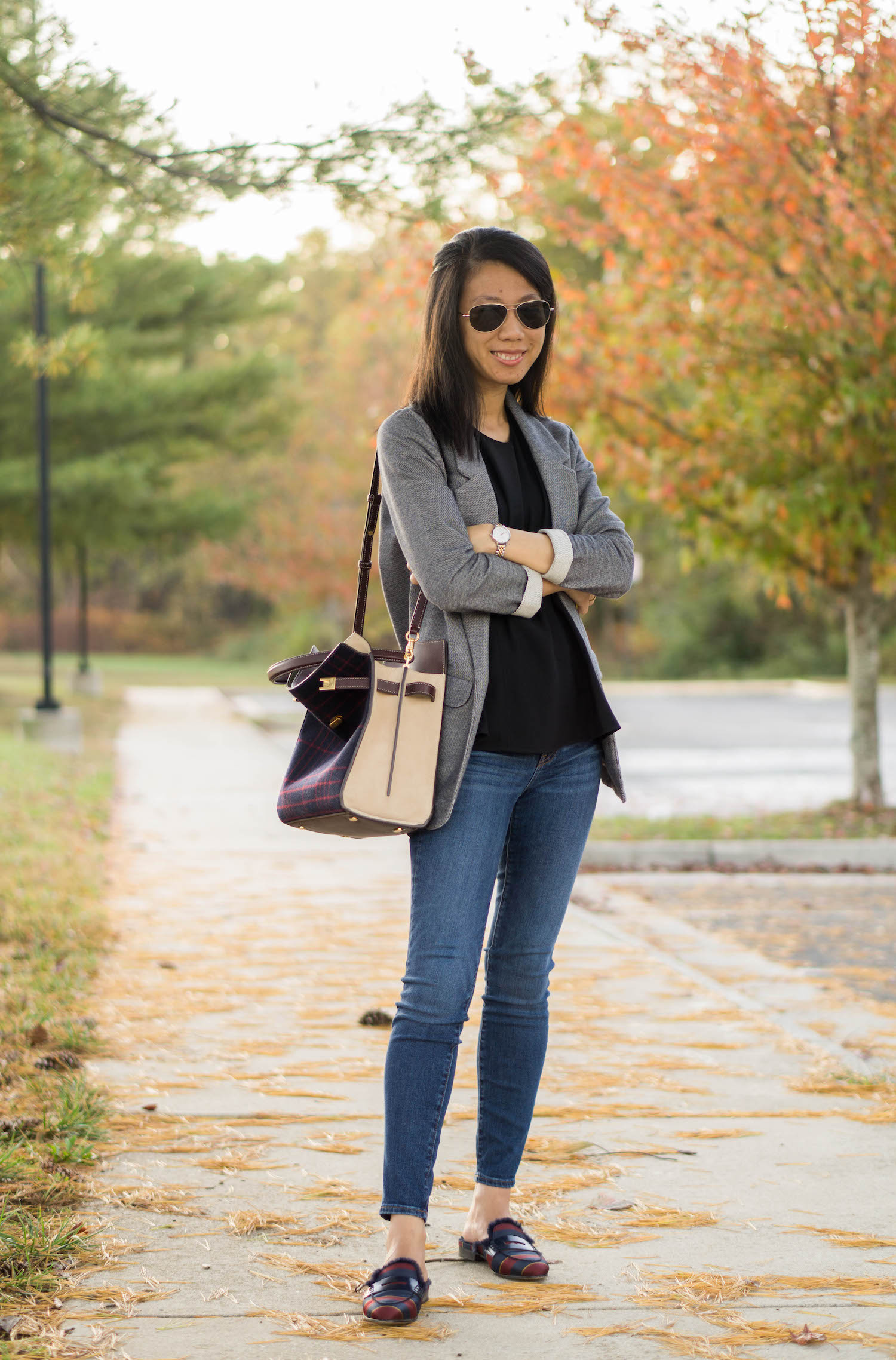 "Topshop gray boyfriend blazer, Ann Taylor black peplum shell, J.Crew 8"" toothpick jean in Vista wash, Tory Burch Lee Radziwill double bag in checked splittable wool, J.Crew faux fur-lined Academy penny loafers mule in silk tie print, Olivia Burton watch"