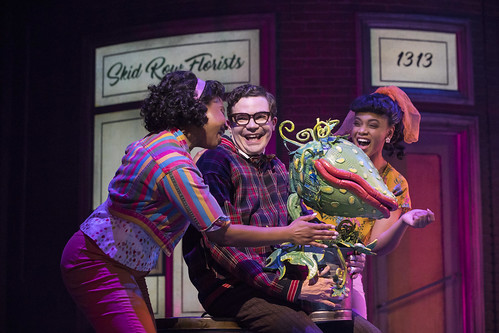 Feed Me A Cult Classic: Little Shop of Horrors at Stratford Festival. From left: Starr Domingue as Crystal, André Morin as Seymour Krelborn and Vanessa Sears as Ronnette in Little Shop of Horrors. Photo by Chris Young, used with permission of the Stratford Festival.