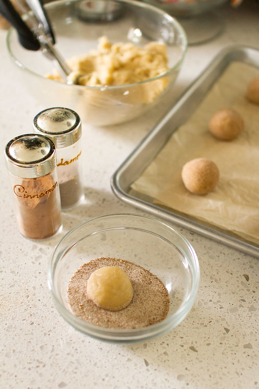 Rolling Snickerdoodles in Chai-Spiced Sugar