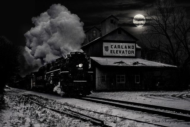 Pere Marquette 1225 steams past the iconic prop 'Carland elevator' under the Harvest moon. (all made up in photoshop of course)