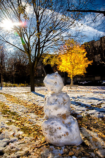 Snow Person enjoying Sunny Autumn Day