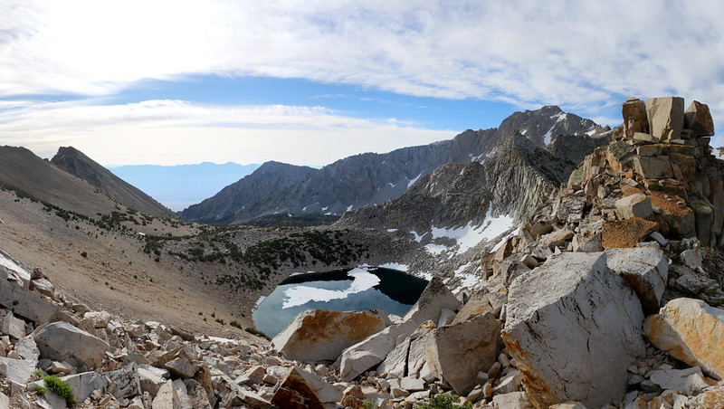 View east from Kearsarge Pass at Big Pothole Lake and the trail down to Onion Valley