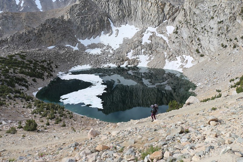 Vicki and Big Pothole Lake as we continue down the switchbacks on the Kearsarge Pass Trail