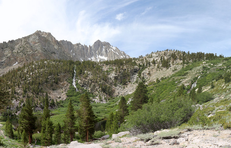 Little Pothole Lake and the double waterfalls, with University Peak (center) on the Kearsarge Pass Trail