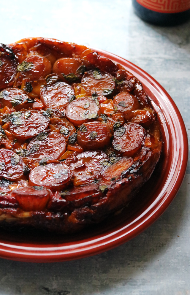 Caramelized Cherry Tomato, Potato, and Goat Cheese Tarte Tatin