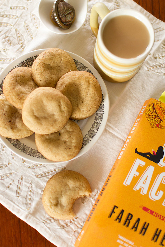 Plate of Chai Spice Snickerdoodles with a Mug of Tea