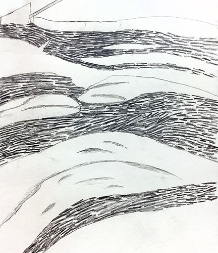 A pencil sketch of the layered rocks at Botany Bay on Vancouver Island