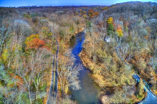 aerial view drone conowingo octoraro creek cecil county fall colors trees house road autumn countryside landscape outdoors rural scenery scenic travel dji mavic2pro mavic2prodronebkushner©brianekushner