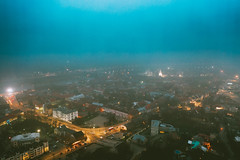 Foggy evening | Kaunas aerial